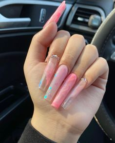 Acrylic Nails Coffin Pink, Long Square Acrylic Nails, Clear Acrylic Nails, Summer Acrylic Nails, Acrylic Nail Designs, Pink Nails, Drip Nails, Glow Nails, Lavender Nails