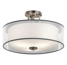 """View the Kichler 43194 Tallie 3 Light 18"""" Wide Semi-Flush Ceiling Fixture with Organza Shade and Diffuser at LightingDirect.com."""