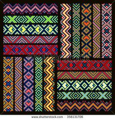 Trendy, contemporary ethnic seamless ribbons and braid, border, pattern, embroidery cross, squares, diamonds, stripe.