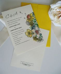 Wildflower Wedding Invitation with Custom Watercolor Illustration (shown with Yellow envelope). $1.75 USD, via Etsy.