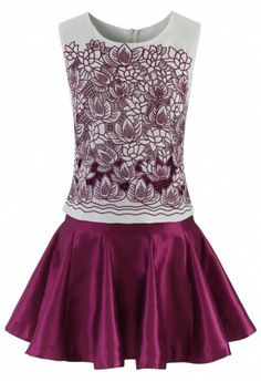 Cut Out Floral Sleeveless Violet Dress