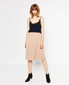 ZARA PLEATED MIDI SKIRT. Finely pleated midi skirt. Stretch waist. Nude pink. OUTER SHELL. | eBay!