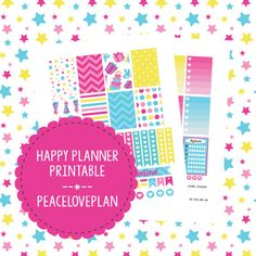 Bright Birthday MAMBI Happy Planner Printable - Weekly Set, Happy Planner Stickers, PDF Instant Download