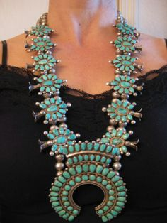 CG Wallace Ondelacy Vintage Zuni Lone Mountain Turquoise Squash Blossom Necklace   WOWZA!!!!!!!