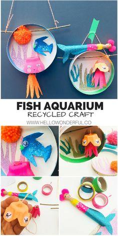 Under the Sea Fish Aquarium Craft #kidscraft #kidsart #fishcraft #summercraft #underthesea #recycledcrafts #recycledart