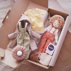Lerusha handmade doll with clothesdoll and clothes in gift box – Anne Marie Suzanne doll and clothes in gift box doll and clothes in gift boxCollin a box setIdeas on branding and packaging Doll Crafts, Diy Doll, Stuffed Animals, Muñeca Diy, Toy Packaging, Sewing Dolls, Waldorf Dolls, Soft Dolls, Cute Dolls