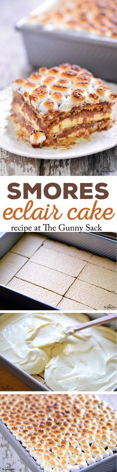 This easy to make No Bake S'mores Eclair Cake recipe has luscious layers of graham crackers, vanilla pudding and chocolate topped with toasted marshmallows.