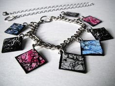 Items similar to Blue & Pink Splatter Art Statement Bracelet/Necklace - 8 Removable Gems on Etsy Splatter Art, Art Necklaces, Etsy Store, Pink Blue, Gems, Black And White, Bracelets, Jewelry, Black White