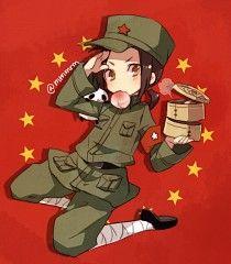 Chibi China with food