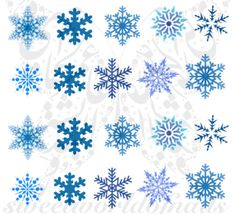 Christmas Xmas Nail Art Blue Snowflakes Water Decals Nail Transfers Wraps