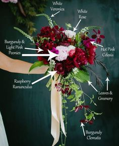 Pink and burgundy bohemian bouquet.