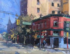 "Jose L. De Juan    ""Pender and Carrall"" Vancouver Chinatown. It was supposed to rain dammit! 8""x10"" oil"