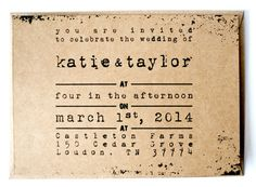 Rustic wedding invitation set   Invitation and RSVP by AnnsPaperie, $3.30