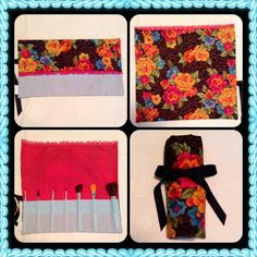 Leopard & Floral Print Makeup Brush Roll Handmade leopard & floral print make up brush roll by my shop, Bravo Boo-tique. Features 13 pockets with room for a ton of brushes! Perfect for traveling or for just organizing your brushes at home. Sorry, brushes not included. Bravo Boo-tique Accessories