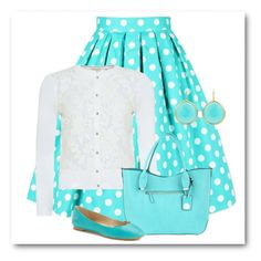 """Turquoise Polka Dot"" by ros-fraser on Polyvore"
