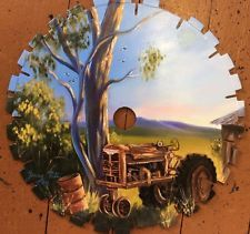 Australian Original  Painting TRACTOR  Farm Scene On Saw Blade JENNY PATE