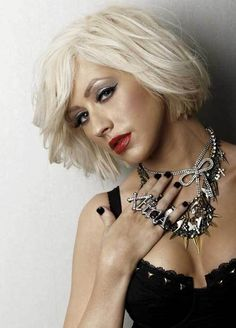 15 Captivating Celebrities with Short Blonde Hair: #7. Christina Aguilera Short Blonde Hair