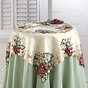 Vineyard Grape Embroidered Square Table Linen