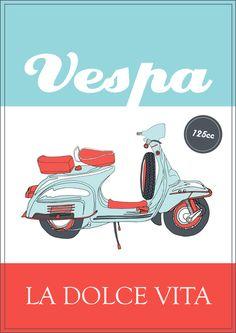 La Dolce Vita - 2 - Vespa poster Art Print
