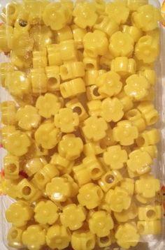 Yellow Flower Beads Hair Beads, Beaded Flowers, Yellow Flowers, Beans, Vegetables, Vegetable Recipes, Beans Recipes, Veggies