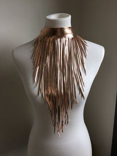 Leather Fringe, Gold Leather, Lambskin Leather, Fringe Necklace, Leather Necklace, Estilo Hippie Chic, Burning Man Fashion, Fringe Fashion, Boho Life