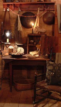 Primitive or rustic? Primitive Kitchen, Primitive Antiques, Primitive Decor, Primitive Country, Kitchen Witch, Prim Decor, Country Decor, Primitive Gatherings, Rustic Room