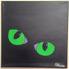 Acrylic painting on canvas by Lisa Fontaine.  Cat Eyes.  Glowing.  Halloween.  Spooky.  Black Cat.