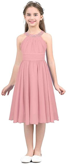 MSemis Girls' Princess Halter Neck Floor-Length Lace Chiffon A-Line Junior Bridesmaid Dress Pink Flower Girl Dresses, Junior Bridesmaid Dresses, Girls Dresses, High Low Chiffon Dress, Chiffon Tops, Super Cute Dresses, Pretty Dresses, Party Gowns, Party Dress