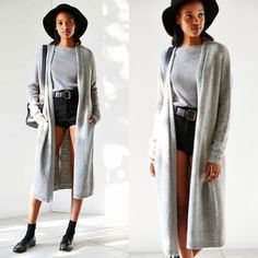 Silence and Noise Urban Outfitters Maxi Cardigan This maxi cardigan with pockets is warm, cozy, comfortable and stylish. Dress is up over a slip dress and boots for an adorable sexy outfit, or throw on over shorts with knee highs for a flirty playful flare. Urban Outfitters Sweaters Cardigans