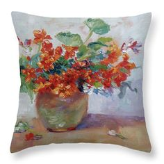 Red Nasturtium, oil painting, rich colors, home decor, interior design, brighten your home with pillows https://fineartamerica.com/profiles/heather-kemp/shop