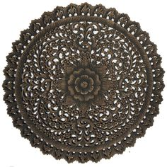 "Elegant Medallion Wood Carved Wall Plaque. Round Wood Carved Floral Wall Art. Asian Home Decor Wood Wall Panels. Wall Hangings. Wood Wall Decor 36""x36""x0.5"" Available in Black Wash and Brown"