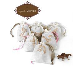 Cotton Drawstring Pouch - Equestrian / Horse Party Favor Bag