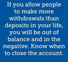 Avoid an unbalanced life.