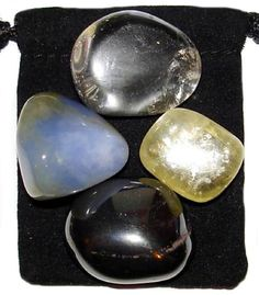 MEMORY BOOST Tumbled Crystal Healing Set - 4 Gemstones w/Description & Pouch - Calcite, Chalcedony, Hematite, Quartz. $4.99, via Etsy.