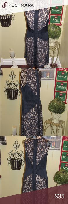 """Limited navy blue lace overlay dress Limited navy blue lace overlay dress size 4 -40"""" shoulder to hem  -16"""" armpit to armpit-13""""across waist  Material does have give.  Very figure flattering The Limited Dresses"""