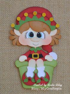 Items similar to Santa Elf Girl Christmas Premade Scrapbooking Embellishment Paper Piecing Die CutClip Art. on Etsy Paper Piecing, Christmas Wood, Christmas Crafts, Toddler Crafts, Crafts For Kids, Gingerbread Crafts, Scrapbook Embellishments, Scrapbook Borders, Pin On