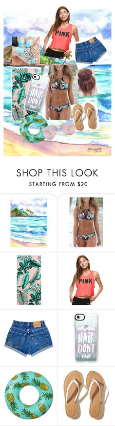 """Summer swimming outfit"" by liliana2003 ❤ liked on Polyvore featuring Rip Curl, PBteen, Casetify and Hollister Co."