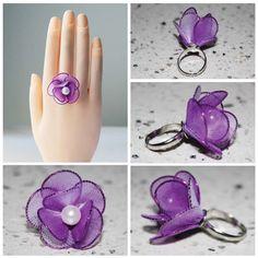 VALENTINE DAY Purple Unique Rings Sakura by kreativeblossom