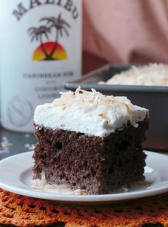 Chocolate Coconut Malibu Rum Cake | urbanbakes.com