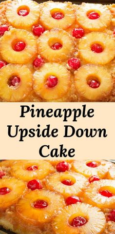 Easy recipe for Pineapple Upside Down Cake with a pineapple flavored cake batter features caramelized pineapples and cherries. It looks harder than it is! When making the best pineapple upside down cake is this easy, we almost feel bad calling this a reci Food Cakes, Köstliche Desserts, Delicious Desserts, Homemade Desserts, Easter Desserts, Christmas Desserts, Kitchen Recipes, Baking Recipes, Best Cake Recipes