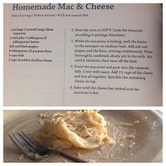 "Mac and cheese recipe from the Miss Kay cookbook. I did 1/3 the recipe, used spaghetti instead of elbows (since that's what I had) and no bake. The boys loved ""cheesy noodles""!"