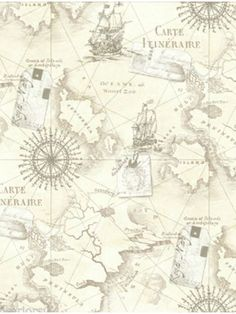 Neutral Nautical Themed Navigator Map Wallpaper More Designs Available At Play Rooms