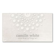 Cosmetology Elegant Circle Shimmery Off White Chic Business Cards