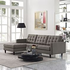 Empress Button Back Left-Facing Upholstered Sectional Sofa in Granite