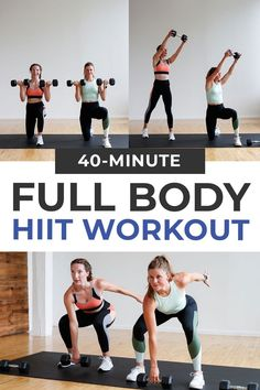 """The BEST HIIT Workout At Home if you want to burn calories and build total body strength! This at home dumbbell workout combines six full body exercises in a """"stack on"""" pyramid format sure to test your strength and cardio endurance. Get all these benefits of a high intensity interval training (HIIT), without leaving your living room. I suggest doing HIIT workouts one to two times per week. Dumbbell Workout At Home, 45 Minute Workout, Dumbbell Squat, Full Body Hiit Workout, Butt Workout, Home Workout Videos, At Home Workouts, Hiit Workouts With Weights, Pyramid Workout"""