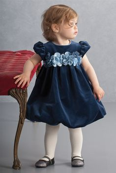 Biscotti - Winter Blooms Toddler Bubble Dress in Navy Fall 2014