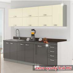 Kuchyňa - Tempo Kondela - Prado 260 cm sivá + lesk vysoký sivý/krémový