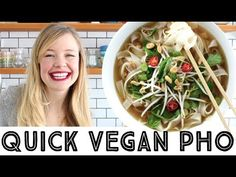 Quick vegan pho. A total bowl of health. This baby will make colds run away in horror.
