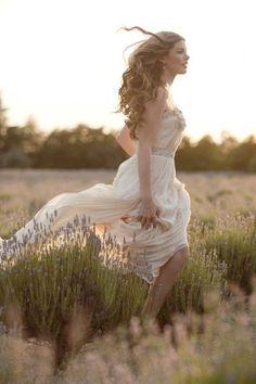 bride in lavender field, wedding gown