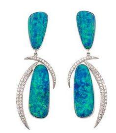The Get: Jorge Adeler Opal Doublets and Half Moon Diamond Earrings Opal Earrings, Opal Jewelry, Diamond Jewelry, Fine Jewelry, Peacock Jewelry, Tribal Jewelry, Jewelry Accessories, Jewelry Design, Jewelery
